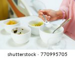 woman patient in hospital bed... | Shutterstock . vector #770995705