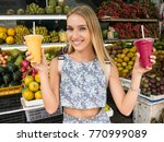 young slender girl with blond...   Shutterstock . vector #770999089