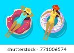 two girls swimming in pool with ... | Shutterstock .eps vector #771006574
