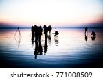 sunset and photo shoot in salt... | Shutterstock . vector #771008509
