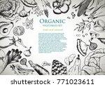 healthy food frame vector...   Shutterstock .eps vector #771023611