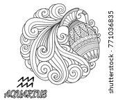 line art design of aquarius... | Shutterstock .eps vector #771036835