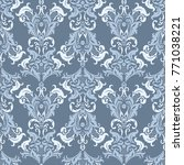 damask seamless pattern. floral ... | Shutterstock . vector #771038221