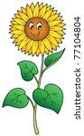 Cute Cartoon Sunflower   Vecto...