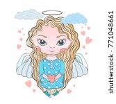 holiday vector hand draw cupid... | Shutterstock .eps vector #771048661