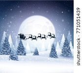 christmas card with santa claus ... | Shutterstock .eps vector #771051439