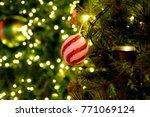 red ball adorn christmas tree... | Shutterstock . vector #771069124