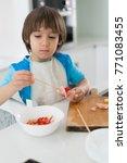 little cute boy alone in modern ... | Shutterstock . vector #771083455