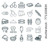 set of 25 gourmet outline icons ... | Shutterstock .eps vector #771103834