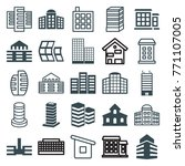 set of 25 skyscraper filled and ... | Shutterstock .eps vector #771107005