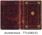 Old Open Book In Textured Red...