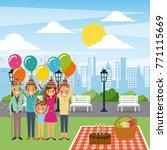 family celebrating birthday in... | Shutterstock .eps vector #771115669