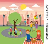 differents family activities in ... | Shutterstock .eps vector #771115699