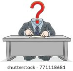 clerk with a question instead... | Shutterstock .eps vector #771118681