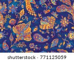 Paisley Seamless Hand Painted...