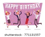 happy birthday party in office. ... | Shutterstock .eps vector #771131557