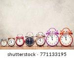 seven retro alarm clocks with... | Shutterstock . vector #771133195