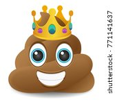 pile of poo king crown emoji... | Shutterstock .eps vector #771141637