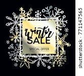 winter sale doodle banner with... | Shutterstock .eps vector #771147565