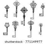 vector vintage keys vol.1 | Shutterstock .eps vector #771149977