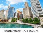 northern chicago river... | Shutterstock . vector #771152071