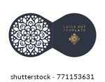 vector wedding card laser cut... | Shutterstock .eps vector #771153631