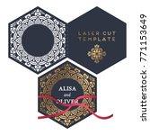vector wedding card laser cut... | Shutterstock .eps vector #771153649
