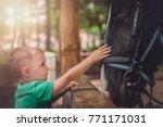 cute little caucasian boy... | Shutterstock . vector #771171031