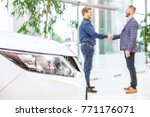 selective focus on the car... | Shutterstock . vector #771176071