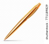single gold pen with fine... | Shutterstock .eps vector #771189829