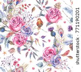 watercolor seamless floral... | Shutterstock . vector #771190201