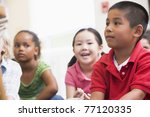 students in class sitting on... | Shutterstock . vector #77120335
