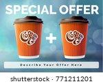 coffee banner 1 plus 1 concept... | Shutterstock .eps vector #771211201