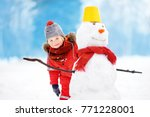 little boy in red winter... | Shutterstock . vector #771228001