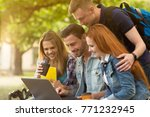 young people studying outdoors. ... | Shutterstock . vector #771232945