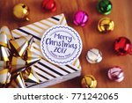 merry christmas card with... | Shutterstock . vector #771242065