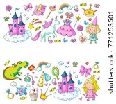 cute princess icons set with... | Shutterstock .eps vector #771253501