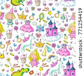 cute princess icons set with... | Shutterstock .eps vector #771254419