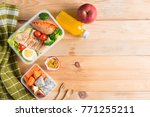 healthy lunch boxes in plastic... | Shutterstock . vector #771255211