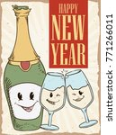 retro poster with cute wine... | Shutterstock .eps vector #771266011