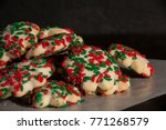 christmas cookies on wax paper | Shutterstock . vector #771268579