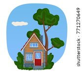a wooden tiny house with stone... | Shutterstock .eps vector #771270649