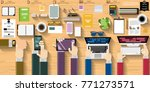 businessman hand and... | Shutterstock .eps vector #771273571
