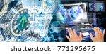 cyber internet connect 3d... | Shutterstock . vector #771295675