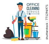 professional office cleaner... | Shutterstock .eps vector #771296971