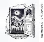 open door into a nature. hand...   Shutterstock .eps vector #771309304