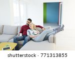 happy young couple hugging and... | Shutterstock . vector #771313855