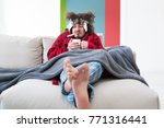young man in bathrobe with flu... | Shutterstock . vector #771316441