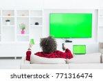 young handsome man in bathrobe... | Shutterstock . vector #771316474