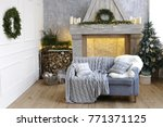 winter decorated room with... | Shutterstock . vector #771371125